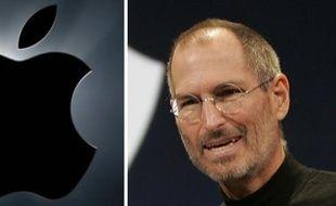 Steve Jobs et la pomme, emblèmes d'Apple