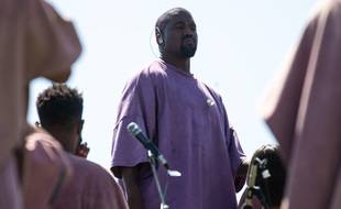 Le rappeur Kanye West lors de son service de Pâques à Coachella en 2019