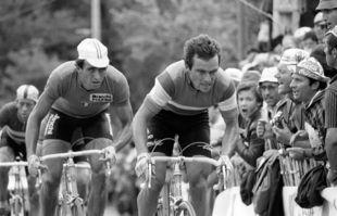 Bernard Hinault lors du championnat du monde de cyclisme sur route à Sallanches, dans les Alpes françaises, le 31 août 1980.