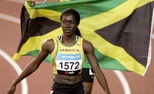 La sprinteuse jamaïcaine Sheri-Ann Brooks lors des Jeux du Commonwealth, le 20 mars 2006.