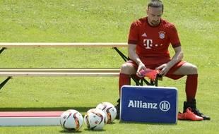 Franck Ribéry sur le terrain d'entraînement du Bayern Munich, le 16 juillet 2015.