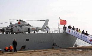 La frégate chinoise Yancheng, chargée de participer à l'éloignement d'armes chimiques de Syrie, le 10 mars 2014 dans le port chypriote de Limassol