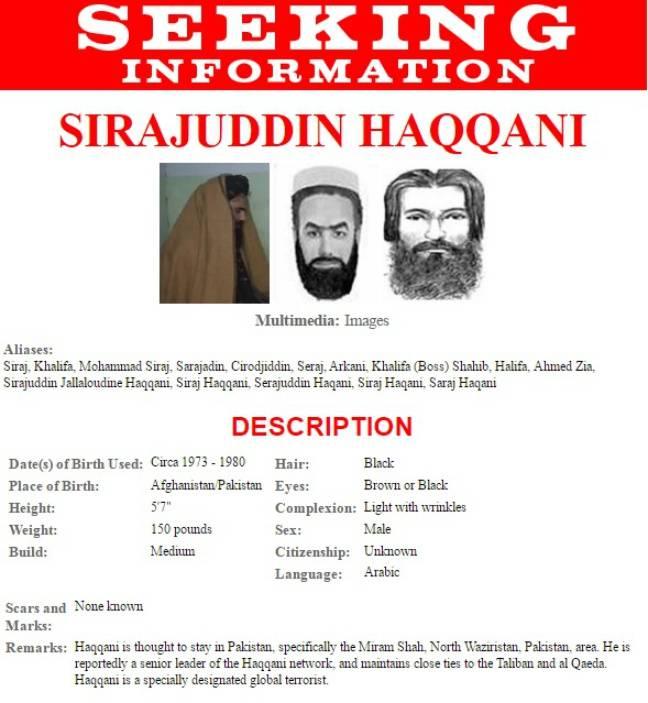 Avis de recherche de Sirajuddin Haqqani