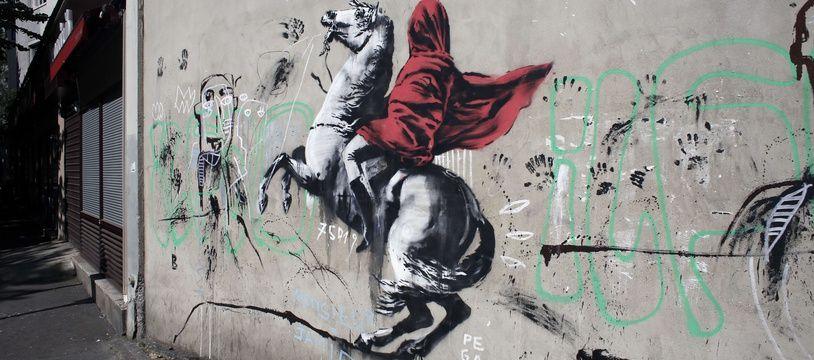 Une des œuvres réalisées à Paris que le street artist Banksy revendique.