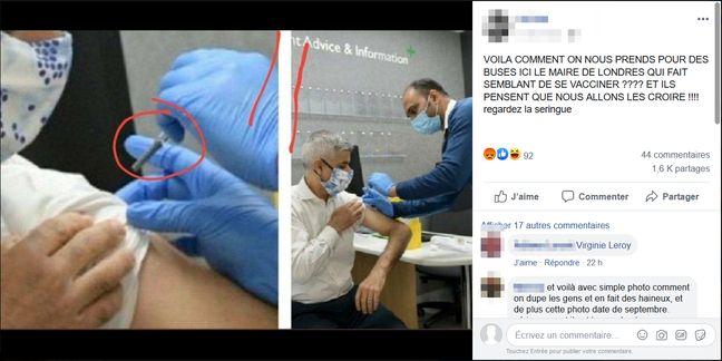 En commentaire de cette publication Facebook, un internaute suspecte le maire de Londres, Sadiq Khan de ne pas s'être fait vacciner contre la grippe
