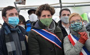Clémentine Autain (LFI) et Julien Bayou (EELV) à Gonesse dans le Val d'Oise