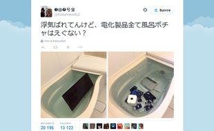 Une Japonaise, trompée par son compagnon, s'est vengée de lui en noyant tous ses appareils Apple et en postant la photo de la scène sur Twitter.