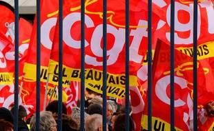 Des drapeaux de la CGT, illustration
