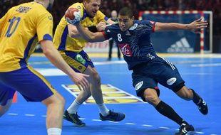 Daniel Narcisse lors de France-Suède, en quarts de finale du Mondial, le 24 janvier 2017 à Lille.