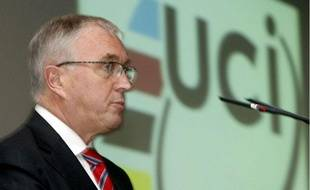 Le président de l'Union cycliste internationale Pat Mc Quaid, lors d'une conférence de presse à Lugano, en Suisse, le 25 septembre 2009.