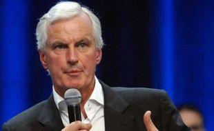 Michel Barnier, au cours d'un meeting de l'UMP pour les européennes, à Rueil-Malmaison, le 29 avril 2009.