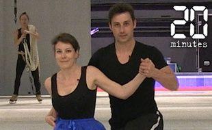 Capture d'écran du cours de patinage de notre journaliste avec Brian Joubert.