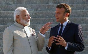 Narendra Modi et Emmanuel Macron.