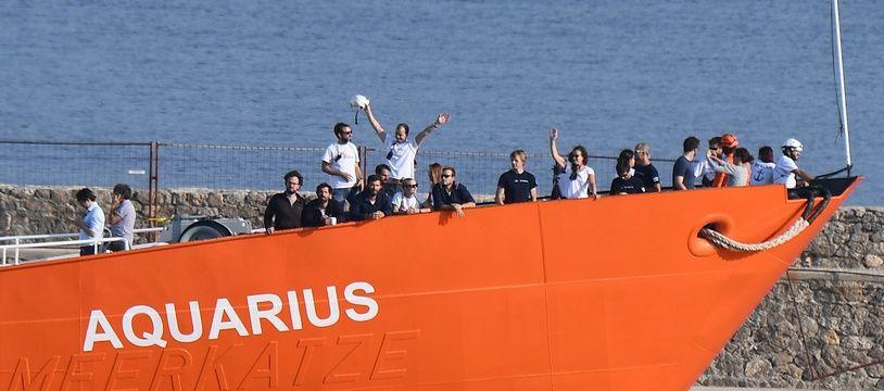Le navire Aquarius à 29 juin 2018 dans le port de Marseille.