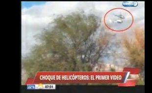 Capture d'écran de la collision des deux hélicoptères de «Dropped» dans le nord-ouest de l'Argentine.