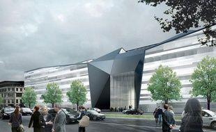 Image de synthèse représentant l'entrée du futur Pentagone à la française, en 2016, sur le site de Balard , au sud ouest de Paris, le 31 mai 2011.