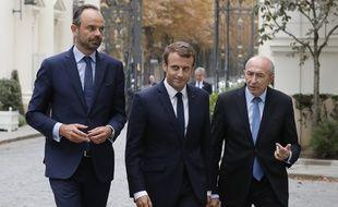 Edouard Philippe, Emmanuel Macron et Gérard Collomb à Paris, le 6 septembre 2017.