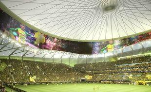Image de synthèse de l'intérieur du nouveau stade du FC Nantes. Avec son écran géant circulaire.