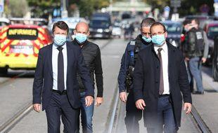 Richard Gianotti (2e en partant de la gauche), le 29 octobre 2020 à Nice, aux côtés de Christian Estrosi et d'Anthony Borré, son premier adjoint