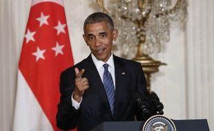 Le président Barack Obama lors d'une conférence de presse commune avec le Premier ministre de Singapour, Lee Hsien Loong à Washington