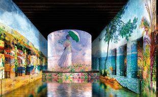 """Simulation de l'exposition """"Voyages en Méditerranée"""" sur les murs de la base sous-marine à Bordeaux"""