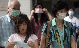 Devant l'hôpital à Hong Kong le 13 mai 2009.