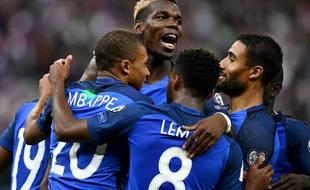 La France a largement battu les Pays-Bas (4-0) en match éliminatoire pour la Coupe du monde 2018, le 31 août 2017 au Stade de France.
