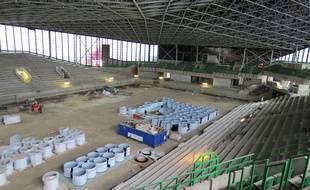 Le Palais des sports de Beaulieu en travaux, à Nantes.