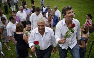 Claude Bartolone et Arnaud Montebourg à la Fête de la Rose, le 18 août 2013.