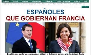 La homepage du Huffington Post après la nomination de Manuel Valls à Matignon et l'élection d'Anne Hidalgo à la mairie de Paris, le 1er avril 2014.