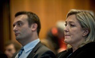 Florian Philippot et Marine Le Pen, présidente du FN, le 10 décembre 2014 à Paris.