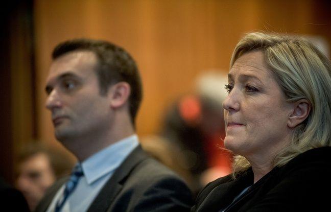 Florian Philippot et Marine Le Pen, présidente du FN, le 10 décembre 2014 à Paris