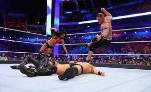 John Cena et Nikki Bella face à The Miz et Maryse, le 2 avril dernier à Orlando.