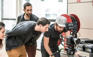 Vanessa Brias, Lorenzo Benedetti (à gauche), Monsieur Poulpe et Ludoc sur le tournage du «Tour du Bagel»