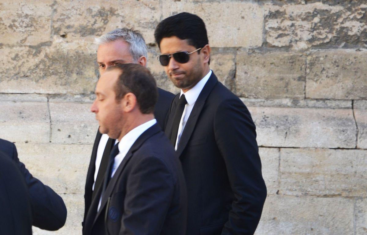 Nasser Al-Khelaïfi, patron du PSG, aux obsèques de Louis Nicollin. – N. Bonzom / Maxele Presse