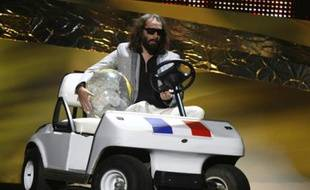 Sébastien Tellier, le candidat français à l'Eurovision, le 24 mai 2008. Pour savoir ce qui s'est passé, cliquez ici