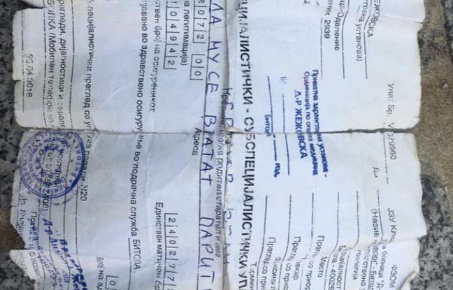 Un document écrit en macédonien retrouvé sur le vieil homme.