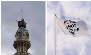 Le drapeau est installé en haut de la tour LU