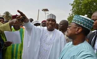 Hama Amadou (G) le 15 juin 2014 à Niamey