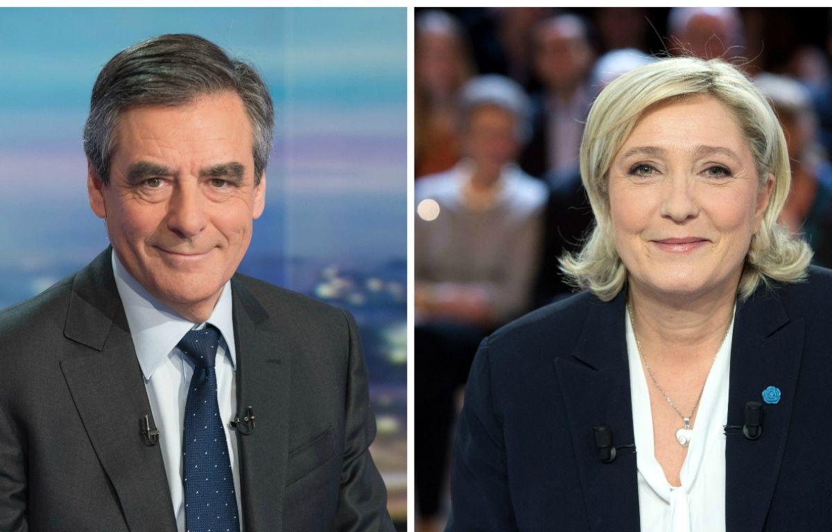 Collage Sipa/20 Minutes avec les candidats François Fillon (Les Républicains) et Marine Le Pen (FN) – Collage Sipa/20 Minutes