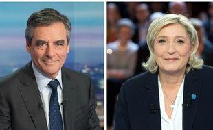 Collage Sipa/20 Minutes avec les candidats François Fillon (Les Républicains) et Marine Le Pen (FN)