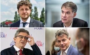 Julien Bayou, patron d'EELV, Olivier Faure, premier secrétaire du PS, Jean-Luc Mélenchon à la tête de LFI et Fabien Roussel, secrétaire national du PCF.