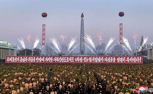 Feux d'artifice en Corée du Nord le 1er décembre 2017 pour fêter le dernier tir de missile intercontinental.