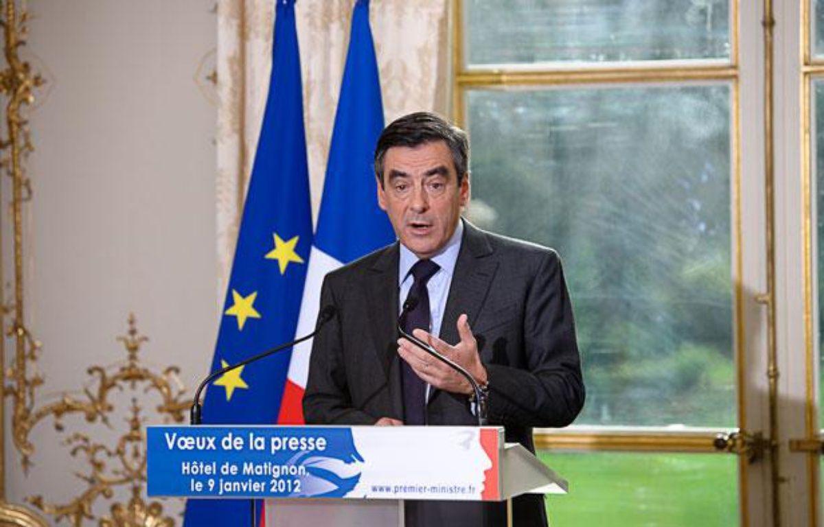François Fillon, Premier ministre, lors de la cérémonie de voeux à la presse, à Matignon, le 9 janvier 2012 à Paris. – A. Gelebart/20 Minutes