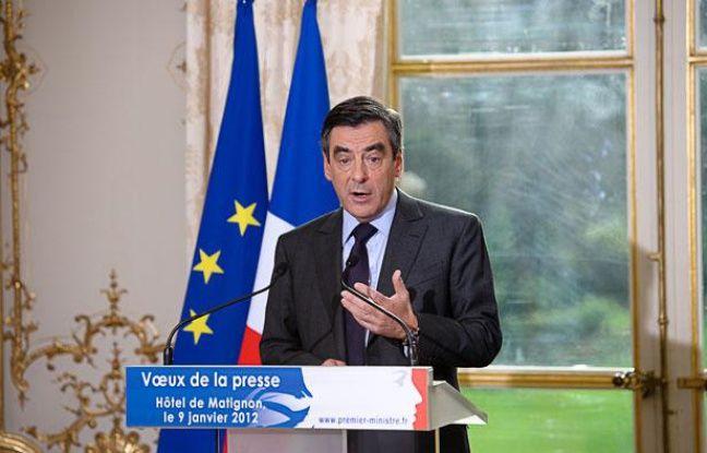 François Fillon, Premier ministre, lors de la cérémonie de voeux à la presse, à Matignon, le 9 janvier 2012 à Paris.