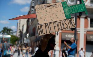Lors de la manifestation contre le pass sanitaire, samedi 17 juillet à Toulouse.