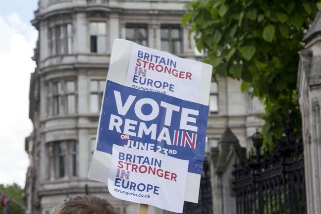 Une pancarte des opposants au Brexit, qui appellent à voter