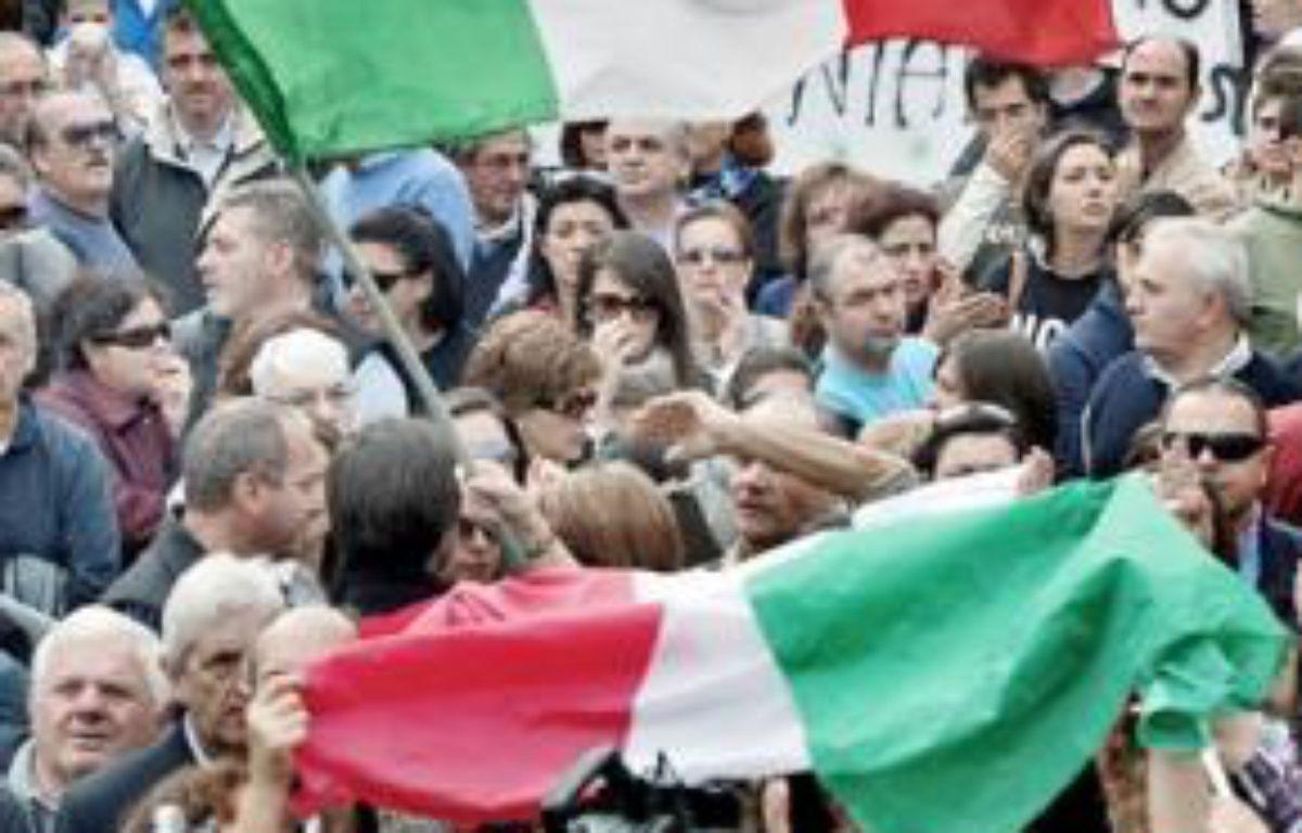 Manifestation à Terzigno, le 24 octobre. –  R. SALOMONE / AFP