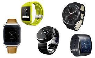 Cinq modèles de montres connectées: Asus ZenWatch, Sony SmartWatch 3, Moto 360, LG G Watch R et Samsung Gear S.