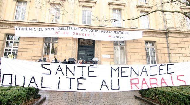 Le centre de soins dentaires de Rennes est bloqué par des étudiants dentistes en grève. Le 15 février 2017. – C. Allain / APEI / 20 Minutes